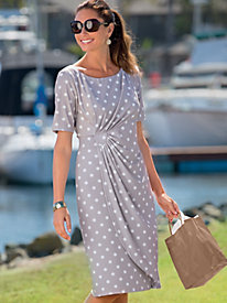 Dotted Faux-Wrap Dress