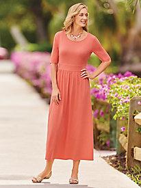 Elbow Sleeve Knit Empire Waist Dress by Bedford Fair