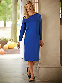 Solid Dress With Button Detail