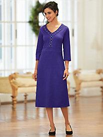 Beaded V-Neck Casual Dress