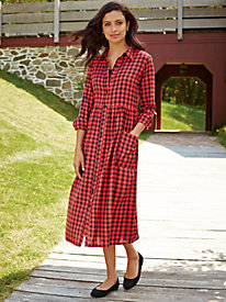 Plaid Button-Front Dress