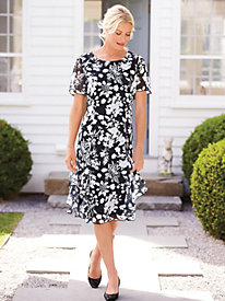 Ruffle Trimmed Print Dress