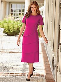 Tiered Short-Sleeve Crepe Dress