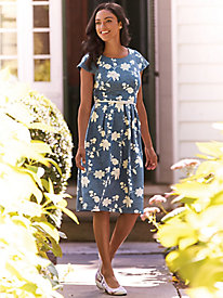 Printed Denim Belted Dress