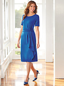 Short Sleeve Draped Side Knot Dress