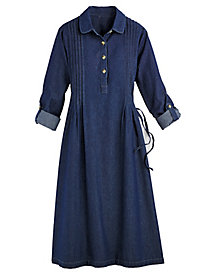 Pintuck Denim Dress