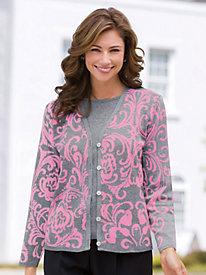 Scroll Work Layered-Look Sweater