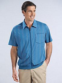 Zip-Front Striped Shirt