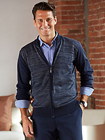 Zip-Front Heathered Cardigan