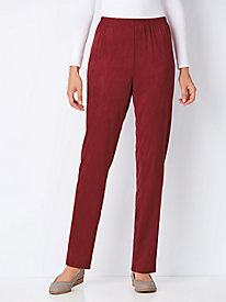 Faux Suede Pants with Spandex Stretch Comfort