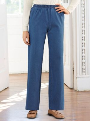 Modern-Fit Wide Leg Stretch Jeans | Haband