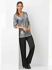 Metallic Top & Knit Pants