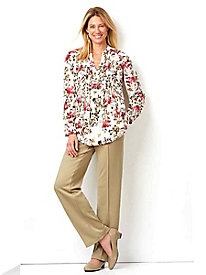 Pleated Challis Blouse, Knit Pants & Pumps