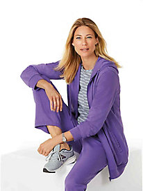 Zip-Front Hoodie, Fleece Pants & Striped Top