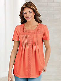 Pintucks & Lace Top
