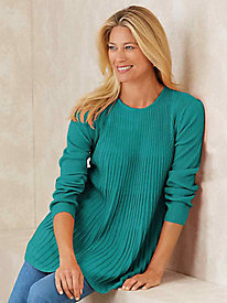 Rib-Knit Crew Neck Tunic