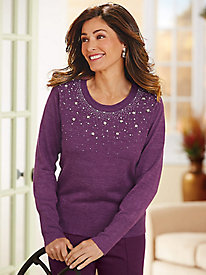 Salon Studio Bejeweled Heathered Sweater