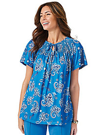 Sara Morgan™ Print Peasant Top