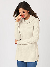 Rib-Knit Cowl-Neck Tunic