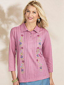 Adrian Delafield� Embroidered Henley Top