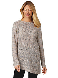 Shimmer Asymmetrical Tunic Sweater