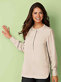 Silky-Sheen Tunic Blouse