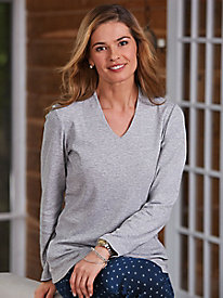 Salon Studio Luxe Cotton Long Sleeve V-Neck