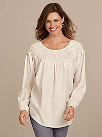 Silky Smocked Neck Tunic