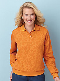 Comfort Corner� Textured Apricot Polo