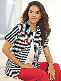 Embroidered Gingham Twin Set