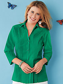 American Sweetheart® Pleated Blouse - Petite