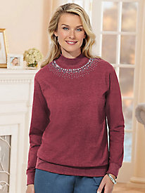 Sara Morgan� Studded Mockneck Top