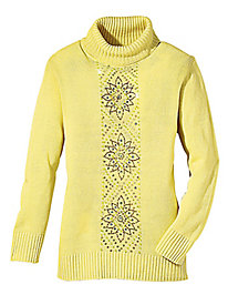 Winter Flowers Turtleneck Sweater
