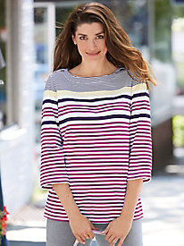 Mixed-Stripe Knit Top