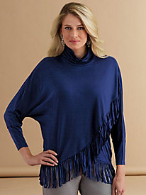 Fringe-Trimmed Draped Sweater