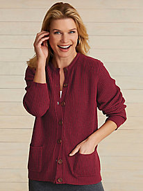 Shaker Button-Front Cardigan