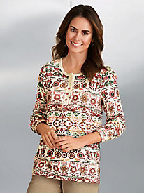 Thermal-Knit Floral Print Henley Top