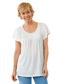 Sun-Ray Peasant Top