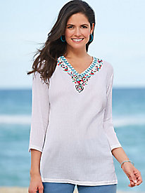 Embroidered Cotton Guaze Tunic