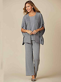 3-Pc Knit Pant Set with Studs