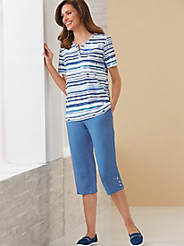Watercolor Stripes 2-Pc Capri Set