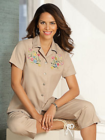 2-Pc. Embroidered Capri Set