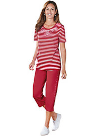 Nautical Stripes 2-pc. Capri Set