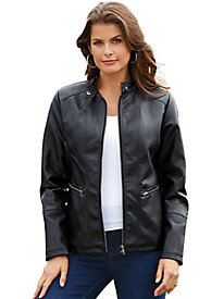 Tudor Court™ Faux Leather Moto Jacket