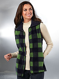 Buffalo Plaid Check Fleece Vest