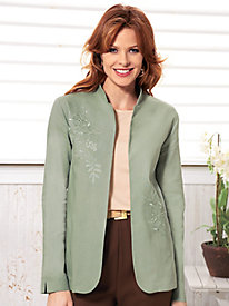 Floral Embroidered Linen-Blend Jacket