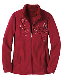 Sherpa-Trim Embroidered Fleece Jacket