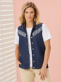 Detailed Denim Vest
