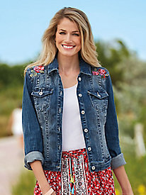 Embroidered Cotton Denim Jacket