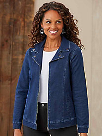 Stretch Denim Moto Jacket